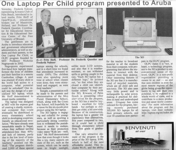 One Laptop Per Child program presented to Aruba - The News 20091016